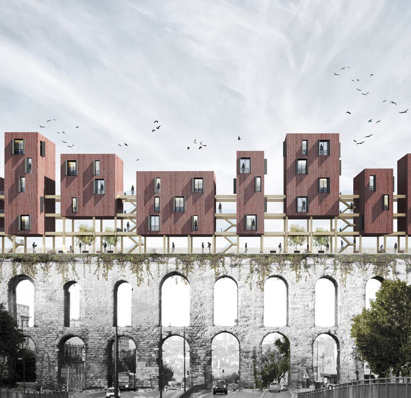 superspace suggests floating housing modules to revitalize the valens archway in istanbul