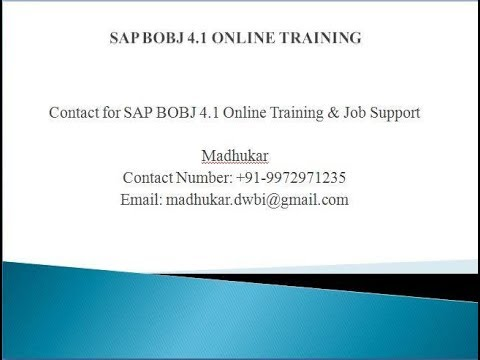 SAP BUSINESS OBJECTS BO BI 4.2 Training and Certification for begininers