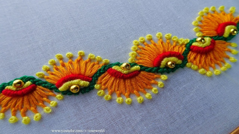 Hand Embroidery Decorative Stitch part 5 |scroll stitch|lazy daisy stitch|french knot stitch