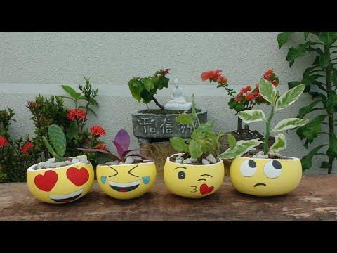 Diy, Vasinhos Emoticons de concreto. feito com balões, fácil de fazer. Smiley, emoji emoticon.