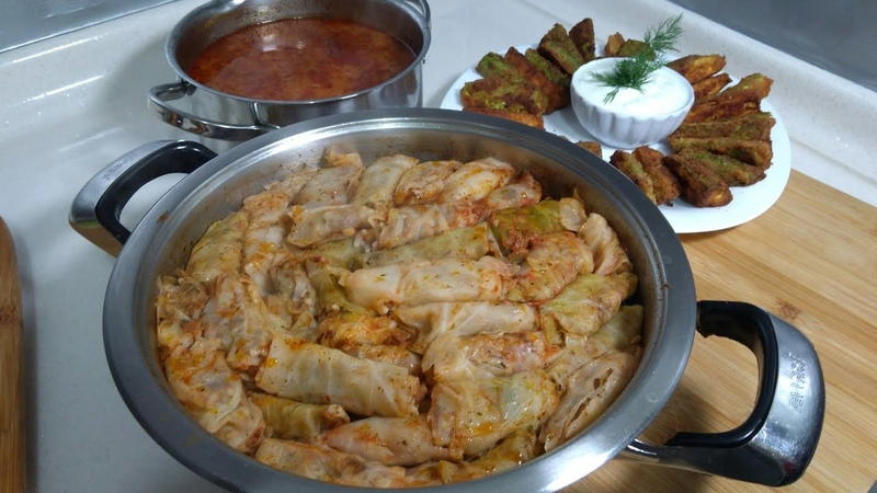 Lahana Dolması İle Enfes Akşam Yemeği MenüsüÇıtır Kabak KızartmasıBuğday ÇorbasıSeval Mutfakta