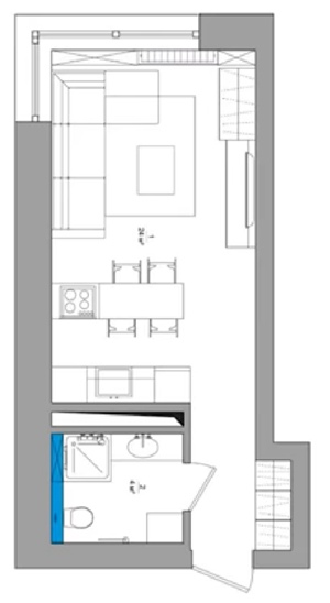 Современный интерьер студии 28 м в Киеве.