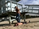Stranger tramples mercilessly a trampling enthusiast on the beach!
