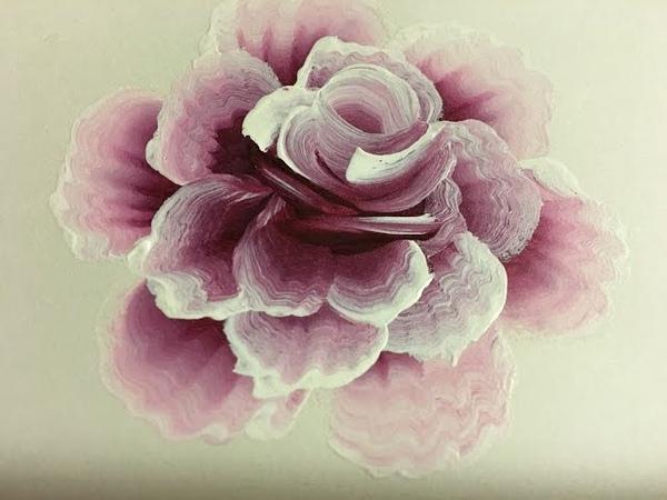 Рисуем одним мазком.Бутон и роза. Акриловые краски.