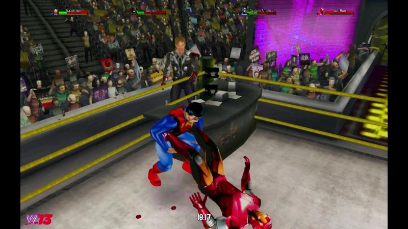 Бэтмен и Супермен против Капитана Америки и Железного Человека (Тором)