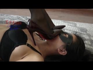 Footstool trample worship black heels Chinese slave girl