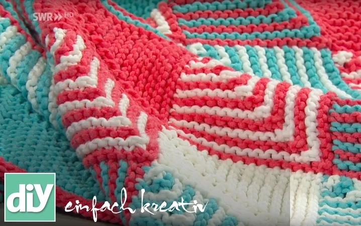 Plaids stricken mit Patchwork-Technik   DIY einfach kreativ