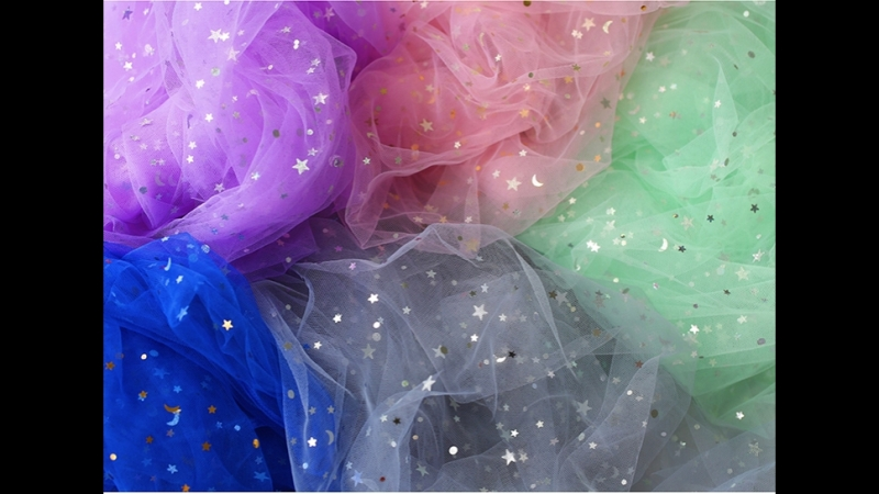 Blogger Yarn Photography Background Backdrops Star Moon Sequin Mesh Fabric Tutu Skirt Fabric Curtain Party Decorations