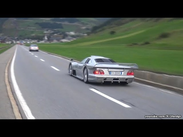 Mercedes CLK GTR AMG Acceleration Sound Drag Race with 911 GT1!