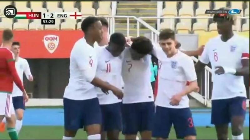 Reiss Nelson's 2 goals for England U19 against Hungary