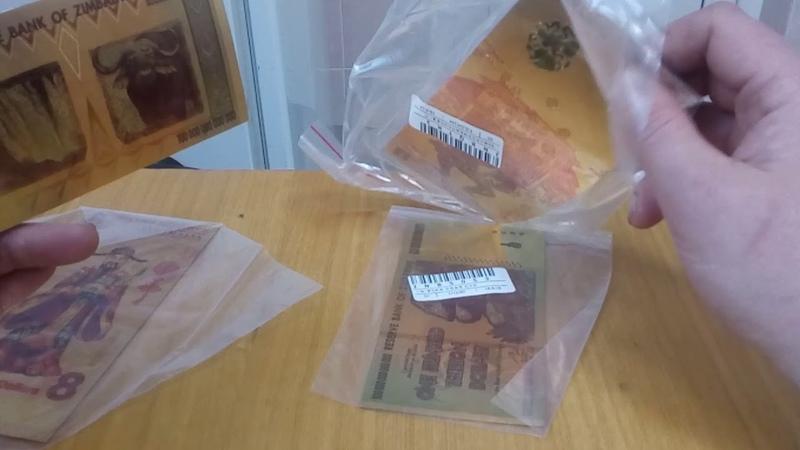 Зимбабвийская и австралийская банкнота из золотой фольги с joom джум