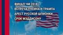 Встреча Путина и Трампа. ГРУ, арест русской шпионки. Срок Мэддисону Что происходит?! 17.07.18