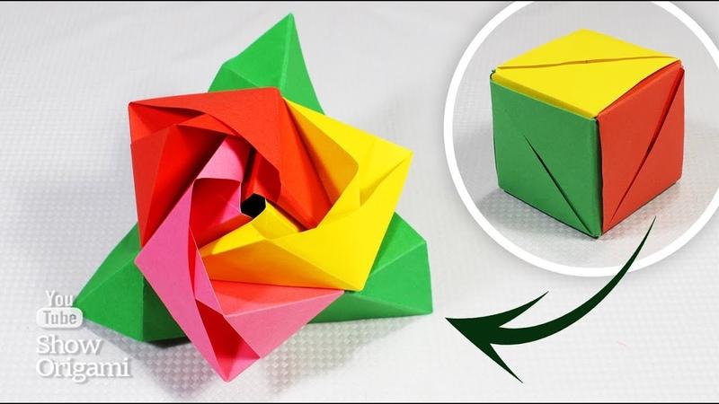 Как сделать РОЗУ 🌹 из бумаги В КУБЕ Оригами роза куб в подарок