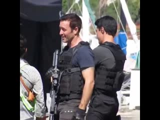Alex O'Loughlin and Ian Anthony Dale take action the scenes #h50