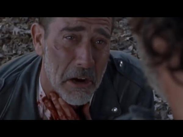 Рик перерезает глотку Нигана.
