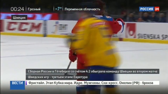 Новости на Россия 24 • Хет-трик Капризова принес сборной России победу над шведами