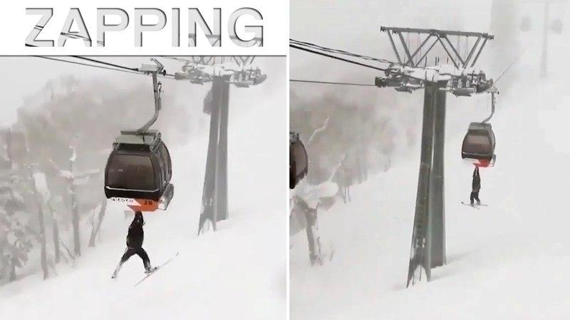 Ce skieur a trouvé la bonne technique pour ne plus payer de forfait 😂