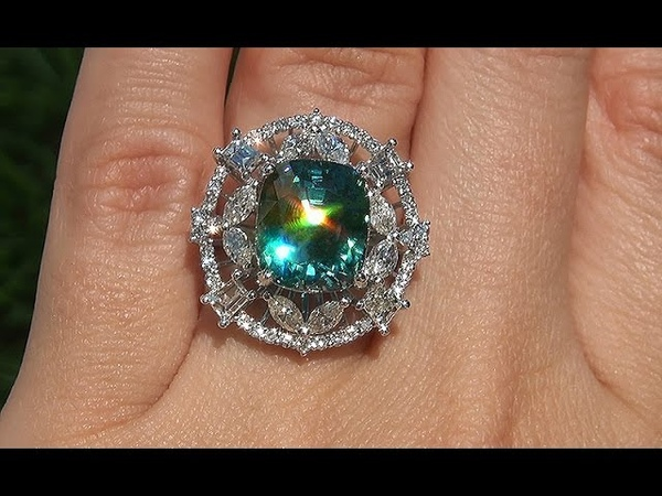 GIA Certified Estate Natural VVS Blue Zircon Diamond 14k Gold Vintage Ring GEM - A141522