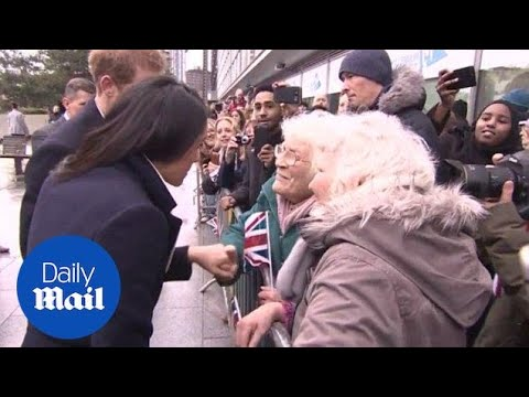 Meghan Markle gets the blessing of two elderly women in the crowd Daily Mail