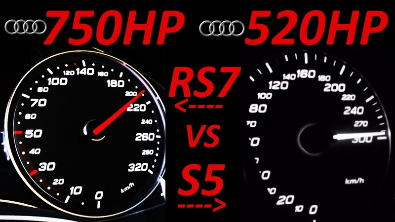 AUDI RS7 vs AUDI S5 - 0-200 Acceleration Sound compare Onboard Autobahn