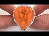 WORLD'S LARGEST 50.14 Carat Mexican Fire Opal &amp Diamond Ring - Estate Collector's DREAM Gem