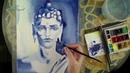 Как нарисовать портрет Будда акварелью