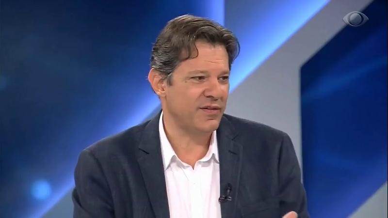 Fernando Haddad, vice na chapa de Lula, participa do programa Canal Livre, na Band