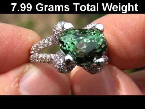 RARE GIA Certified 7.60 Carat Copper Bearing Green Tourmaline Diamond Ring 14k Gold