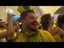 Чемпионат Мира 2018 Бразильские фанаты в Московском метрополитене станция Таганская A copa do Mundo