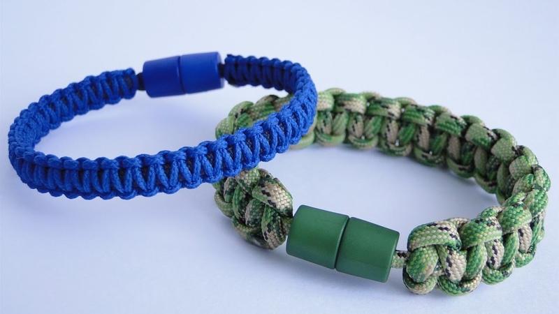 How to make a Paracord Survival Bracelet using a Pop Barrel Clasp as a Closure Cobra Knot
