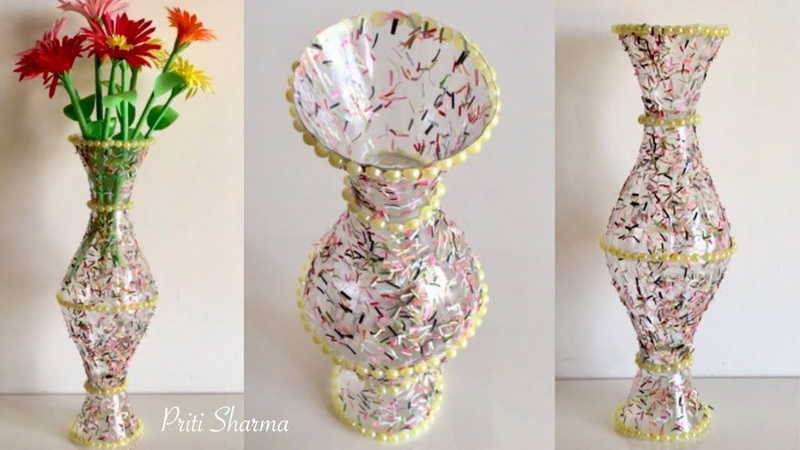 Best Out Of Waste Plastic Bottle Flower Vase 3 DIY Plastic Bottle Craft Idea Priti Sharma