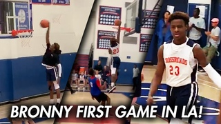 BRONNY JAMES DUNKS IN FIRST GAME in LA with LeBron WATCHING! 27 Pts CROSSROADS DEBUT!