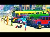 Красочные Машинки и Грузовики с Человек Паук и Супер Героями для Детей Мультфильм про Машинки Песни