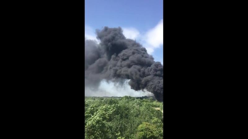 Пожар в районе западного моста на Луговой. 26 мая.