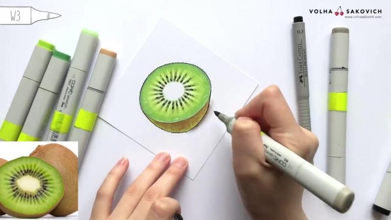 Урок по рисованию маркерами для новичков _ Рисуем киви