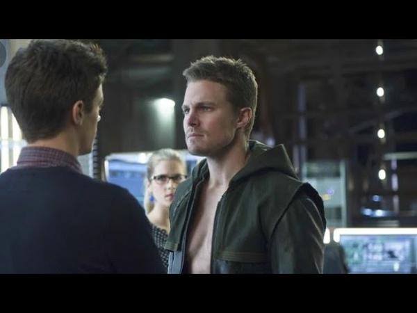 Барри Аллен спасает жизнь Оливеру Куину и узнает тайну его личности - Сериал Стрела
