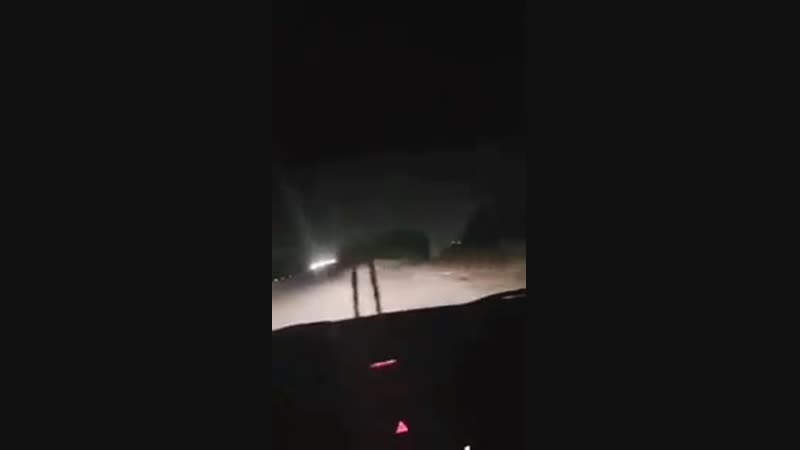 Syrian AD interceptions seen from a car south of Damascus