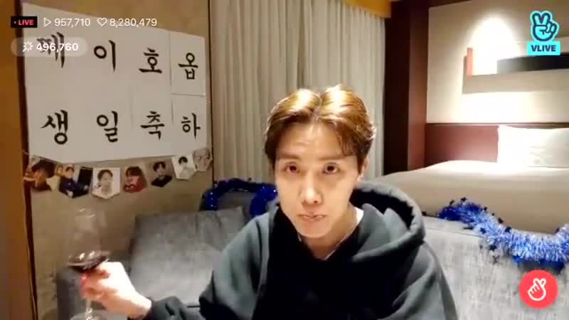 Bare faced hoseok doing a live and drinking wine minutes before his birthday...WE ARE BLESSED - -