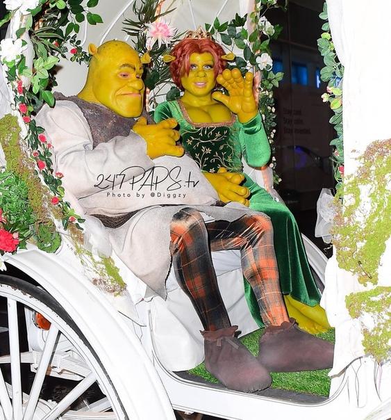Хайди Клум и Том Каулитц в образах Фионы и Шрека #Halloween2018