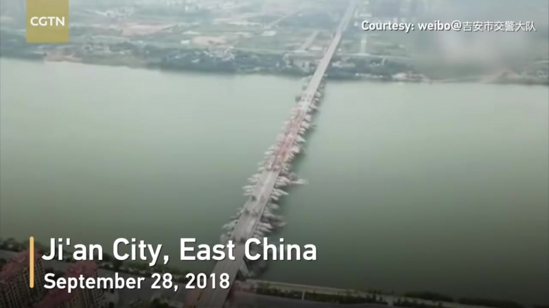 Взорвали мост (1,5 км) над рекой Ган в провинции Цзянси, Китай