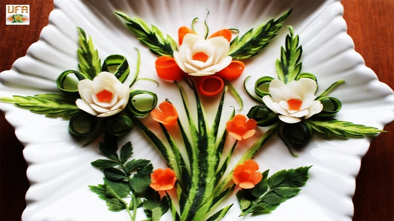 Art Of Radish, Carrot Cucumber Flowers Garnish Designs | Best Vegetable Carving Tutorial