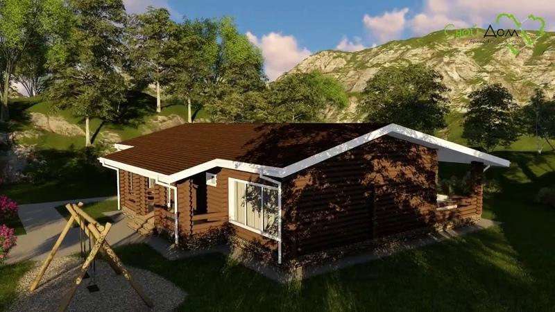 Проект одноэтажного дома ПЕРУН D-020 из бруса на 2 спальни, с хамамом, сауной, террасой