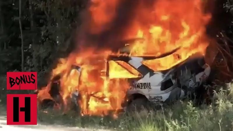 FIRE Ken Blocks Racecar Burns to a Crisp - RAW In-Car Roll and Fire