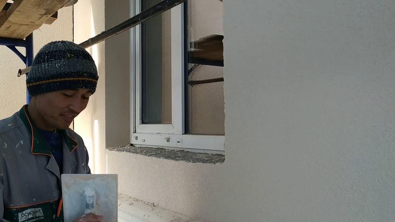 Камешковая декоративная штукатурка 1,5 мм наносится на фасад дома