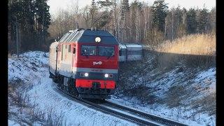 ТЭП70БС 308 с новогодним дополнительным пассажирским поездом на перегоне Бельково - Кипрево.