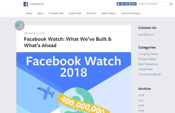 Facebook запускает видеоплатформу Watch на десктопах и