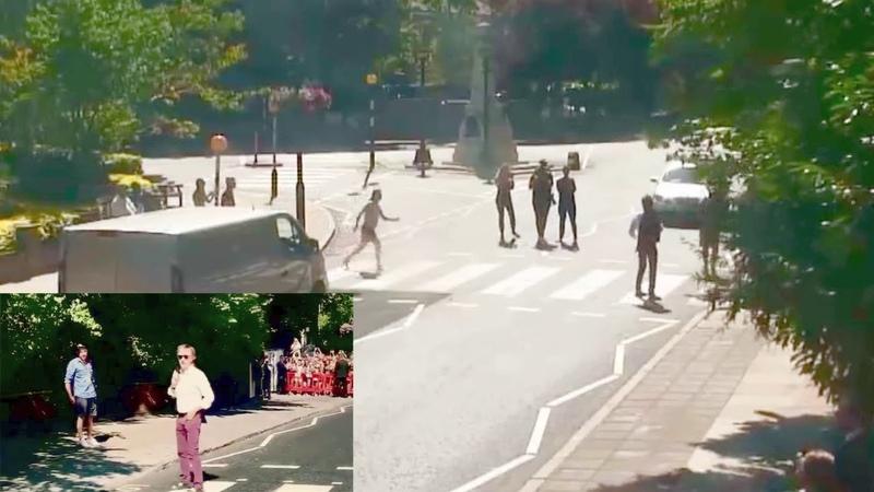 Paul McCartney crossing abbey road 2018