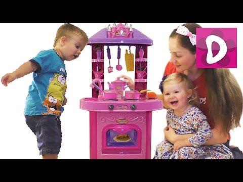 ✿ Детская кухня Распаковка с Мамой Звук Свет Toy Kitchen vegetables cooking soup