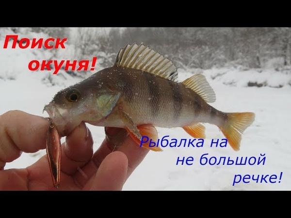 ЗИМНЯЯ РЫБАЛКА НАШЛИ ОКУНЯ Рыбалка на малых реках!