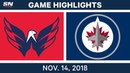 NHL Highlights | Capitals vs. Jets – Nov. 14, 2018